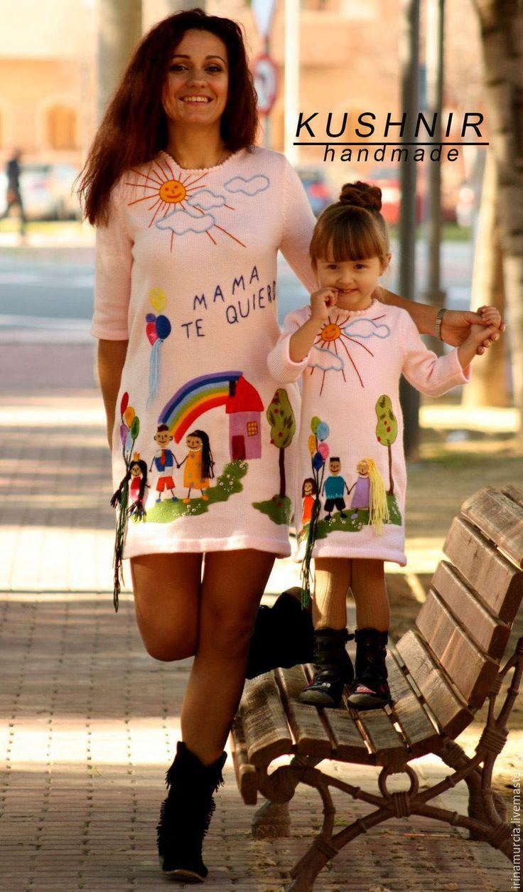 """Купить Платье """" Family """" - детские рисунки, вязание на заказ, фемели лук"""