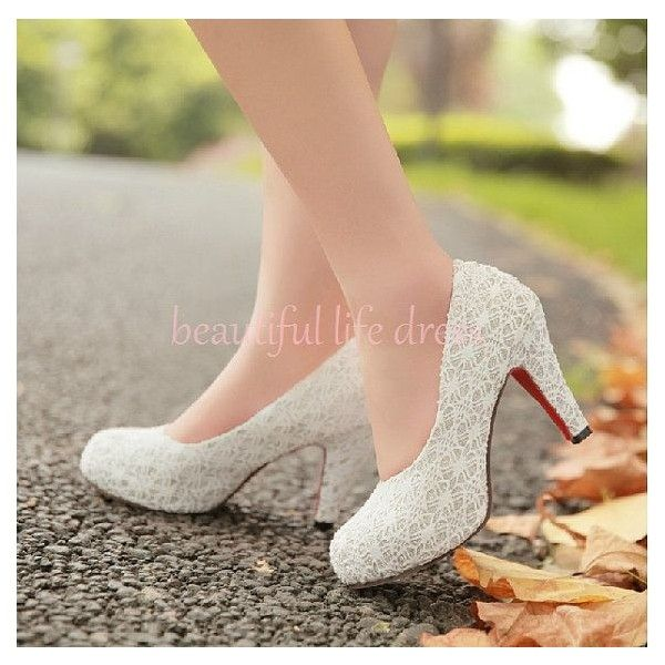 Items similar to 2014 Spring high heel shoes white lace chunky heels... ❤ liked on Polyvore featuring shoes, lace evening shoes, thick heel shoes, white bridal shoes, lace wedding shoes and lace bridal shoes