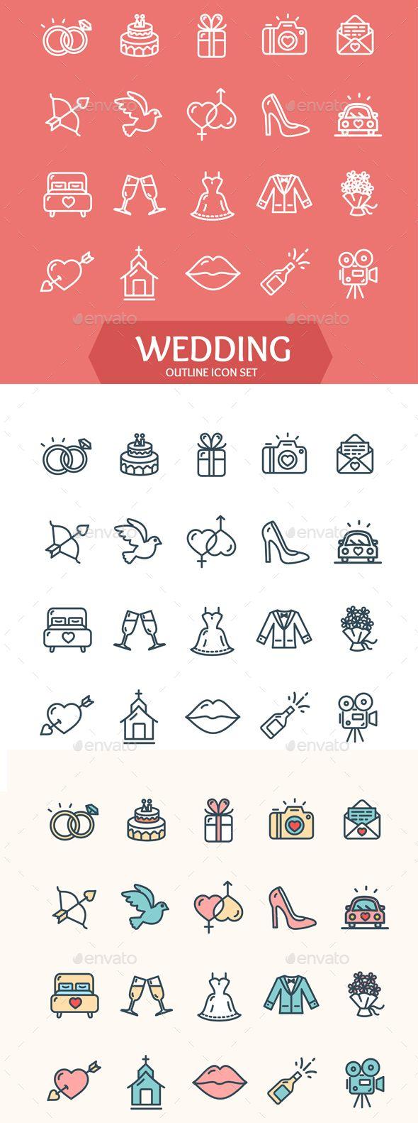 Wedding Icon Set Vector EPS