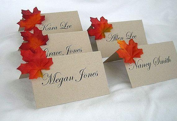 Fall Wedding Place Card Table Card Name Card by AllThingsAngelas
