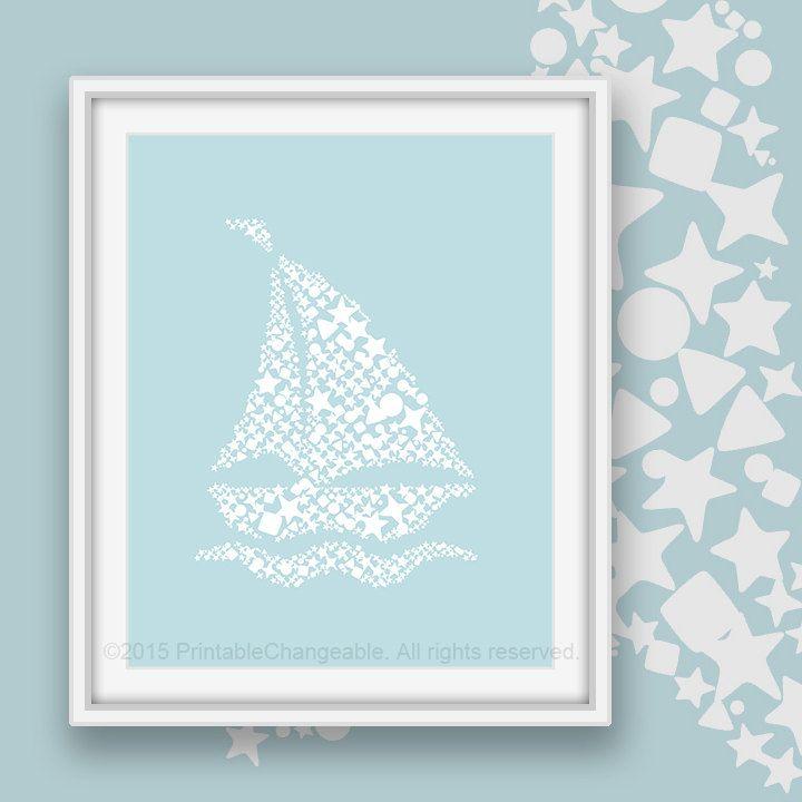 Nautical decor - Sail boat art printable - Pastel blue 51 - Sailboat nursery wall art - Instant download