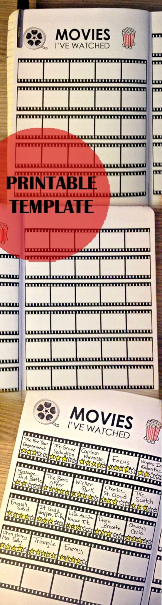 Movies, Journaling, Bullet, Journal, Movies I've Watched, Tracking, Template, Printable, Bu-Jo, Movie, Tracker, Print, Printing, Dana Sobh