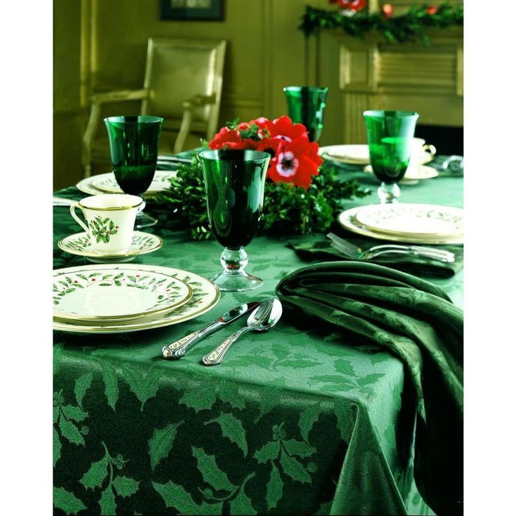 Lenox Holly Damask Tablecloth, 60 By Oblong/Rectangle, Green: Holly Damask  Table Linens By Lenox Offer The Elegance And Quality You Have Come To  Expect From ...