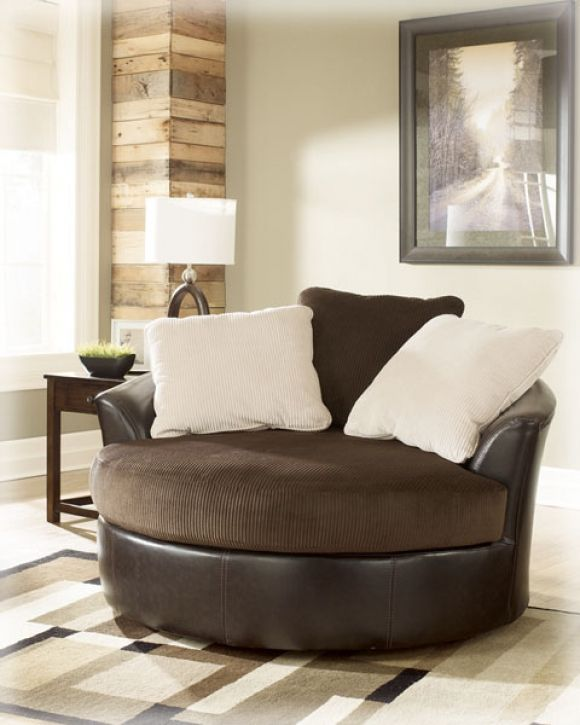 two person chair | Victory - Chocolate Round Swivel Chair By Ashley Furniture Industries ...