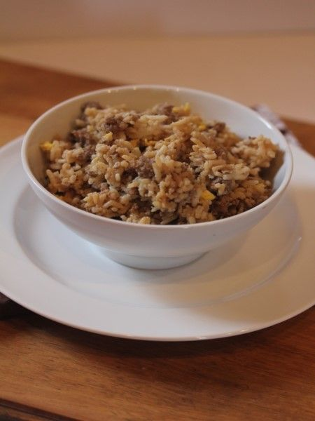 Ground beef fried rice is a quick, easy, and inexpensive dinner.