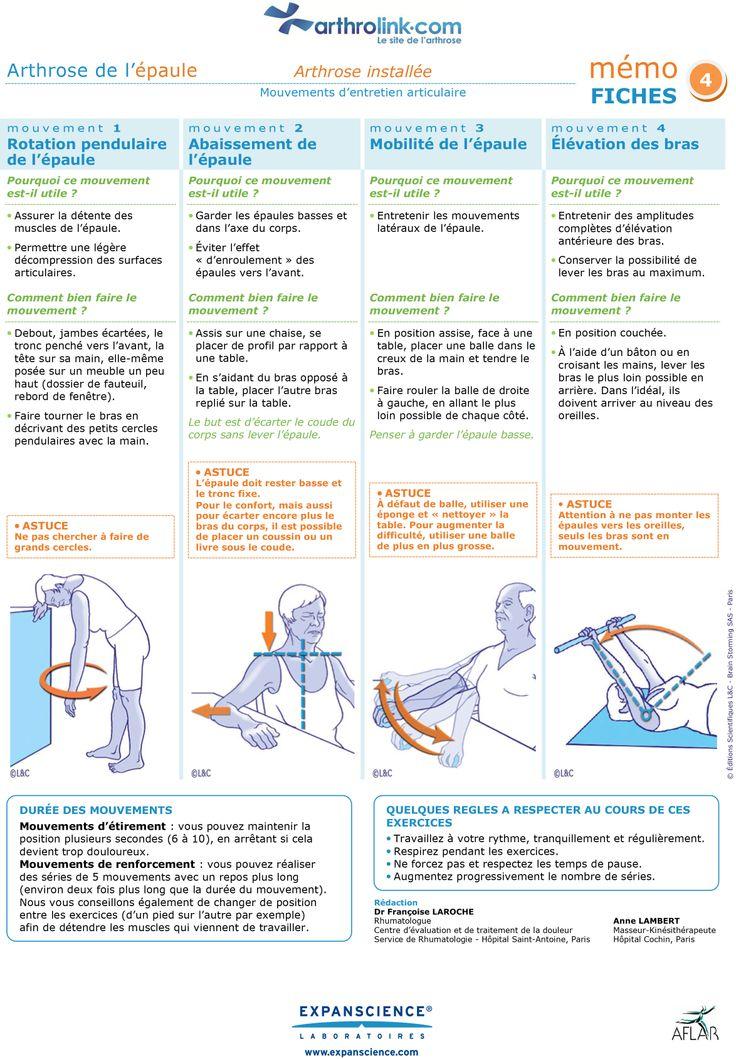 Consultez notre fiche d'exercices pour soulager votre arthrose installée de l'épaule avec des mouvements d'entretien articulaire