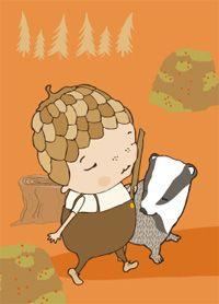 My badger friend - postcard illustration by Terese Bast.  #badger #friends #forrest #teresebast