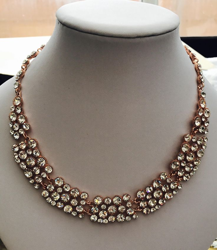 Rose Gold Statement Necklace made with swarovski crystals. Would make an excellent gift.