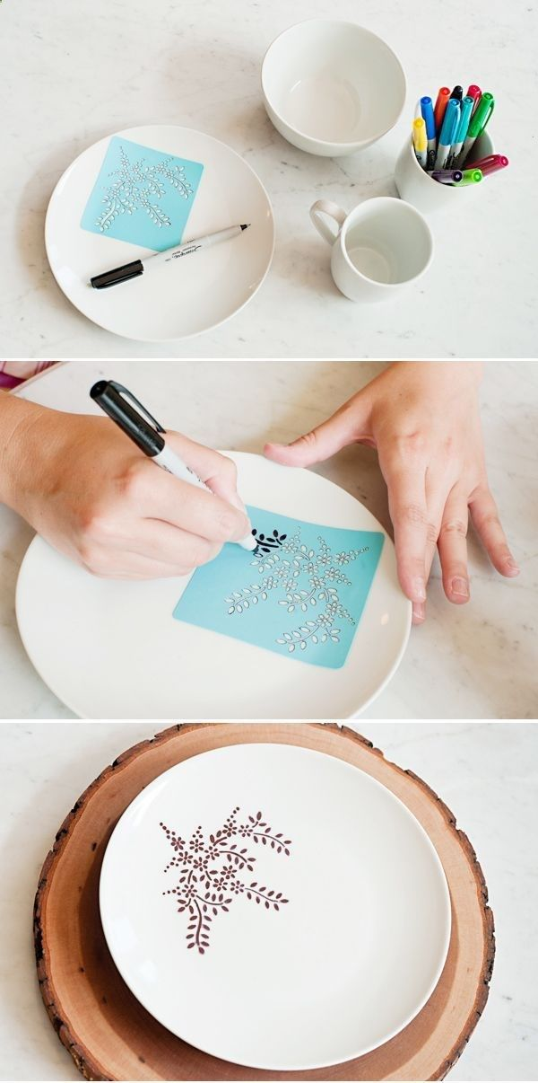 25 Easy and Creative Sharpie Crafts - Stencilled sharpie plates. Bake at 350 for 30 minutes to seal.