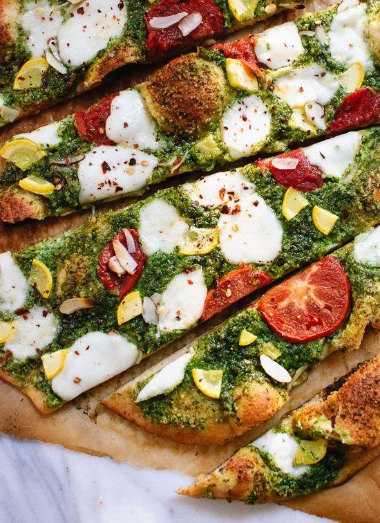 Homemade arugula-almond pesto pizza with a simple whole wheat crust - cookieandkate.com