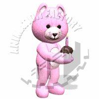 Teddy Bear With Birthday Cupcake Animated Clipart