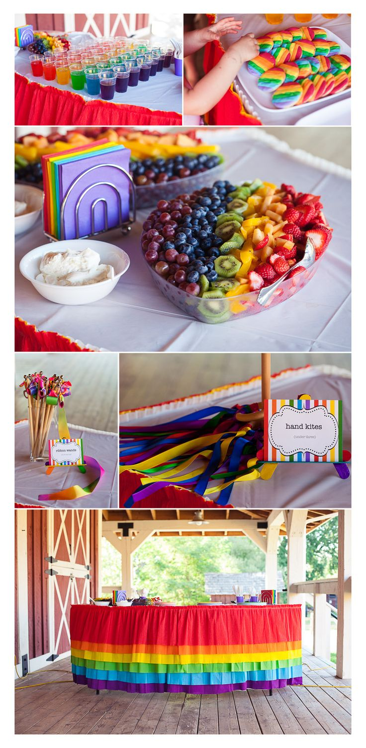The rainbow birthday party Jennifer planned turned out perfect! It was really fun to help her....Wendy Schultz onto Kid's Party Idea's.