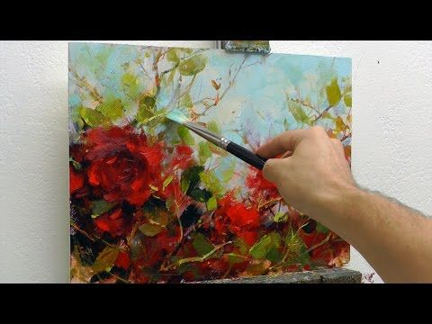 Learn to Paint Crimson Roses Oil Painting Demo Fast Motion - YouTube
