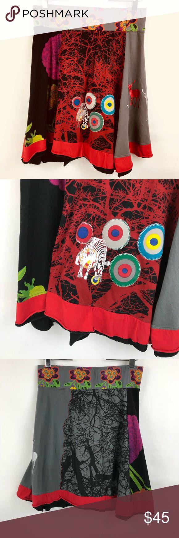 "Desigual Skirt Elastic Waist Sz XL 100% Cotton Desigual Skirt Multi color Size XL Waist 32"" Length 23"" Measurements are approximate Desigual Skirts A-Line or Full"