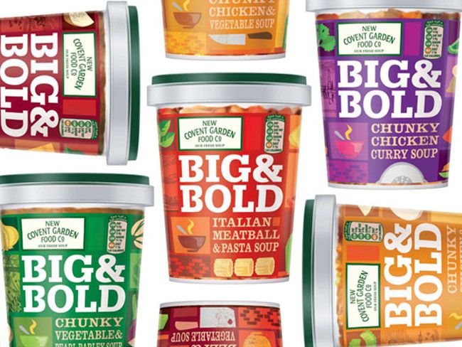 Big & Bold- Designed by Ziggurat Brands, United Kingdom. Good, filling, flavourful, chunky soups...brought alive by brilliant design.