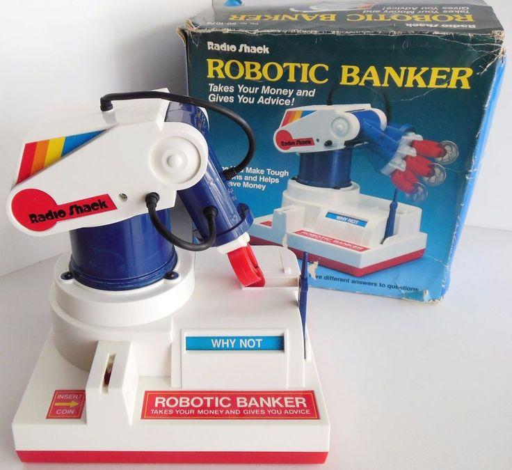 Vintage Radio Shack Robotic Banker - Robot Arm Coin Toy Bank Working SEE VIDEO!    eBay