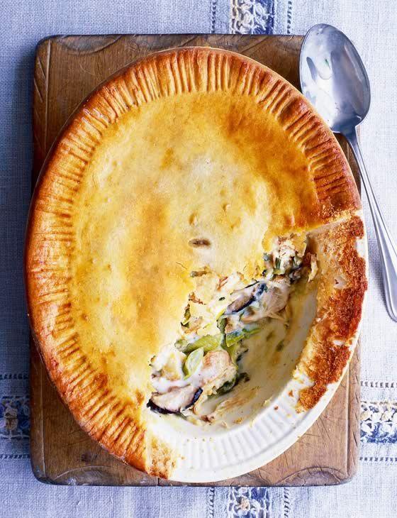Hot-water crust chicken, leek and shiitake pie