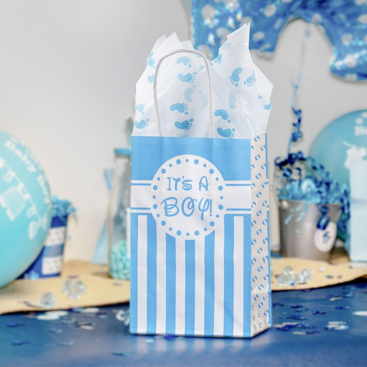 Itu0027s A Boy Baby Shower Favor Bags And Tissue Paper Bundle (Set Of 6)