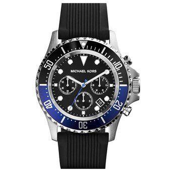 Michael Kors Everest Chronograph Black Dial Black Rubber Mens Watch
