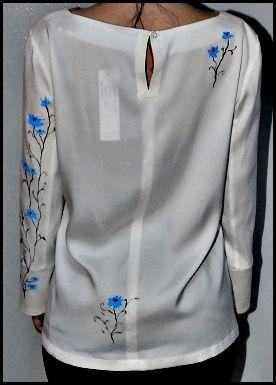 Bluza matase naturala pictata manula fata-spate.