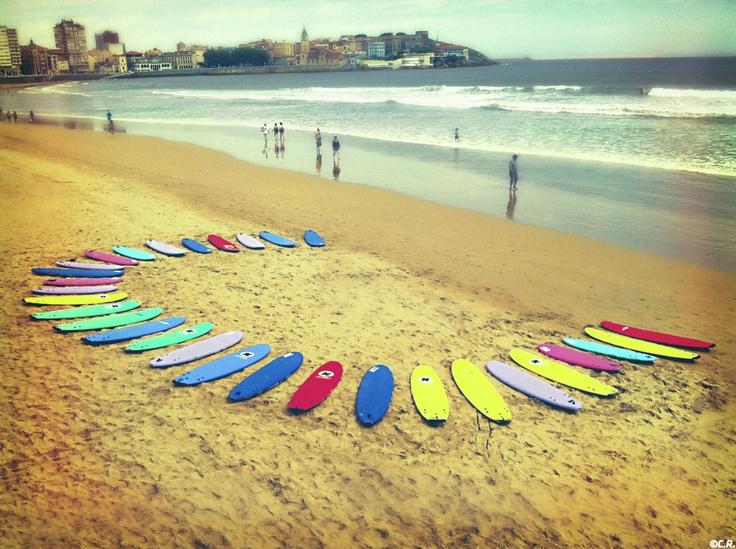 Surf en la Playa de San Lorenzo.Gijon.Asturias