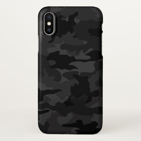 Cool Black and Gray Camouflage Camo Pattern Glossy iPhone X Case - tap to personalize and get yours