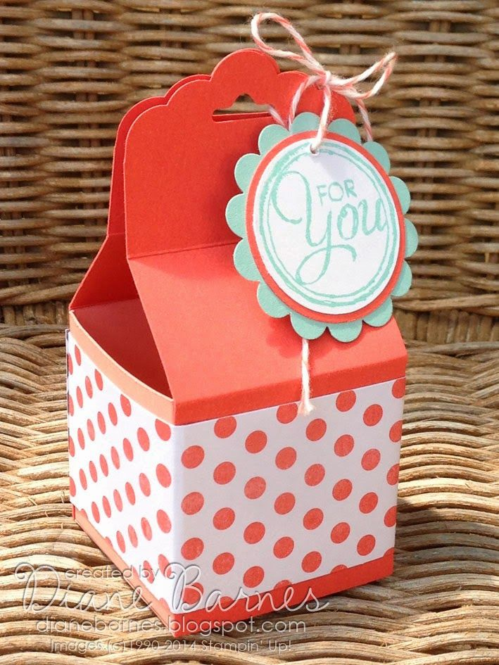 Stampin Up Scallop Tag Topper punch treat box with instructions pdf by Di Barnes| #stampinupau #stampinup #colourmehappy