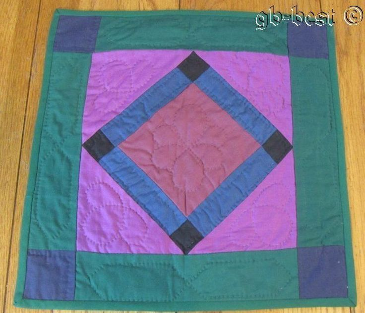 """PA Amish Center Diamond Square TABLE Doll Quilt Blue Green 15 x 14.5"""""""