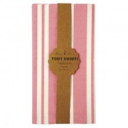 Nappe en papier rose à bandes blanches pour anniversaire Meri Meri
