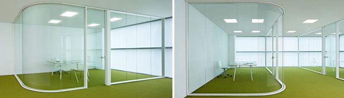 Mampara de oficina Exclusive: Sistema de vidrio curvo 90ª