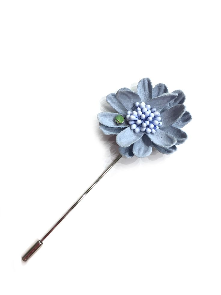 Joan by One Button – leather daisy pin brooch with diamante #paleblue #beautifulblues #brooch #accessories #onebutton  Click to buy from the One Button shop.