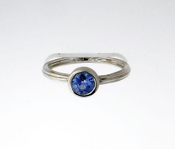 14k white gold bezel set sapphire ring $200.00