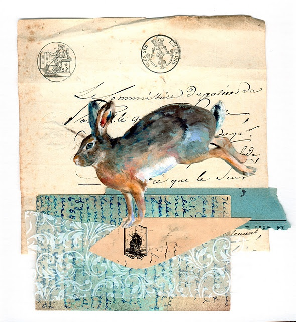 .: Rabbit, Art Texts Calligraphic Mail, Collage Artists, Illustrations Artworks, Mixed Media Painting, Artists Assemblages, Mixed Media Collage, Mail Art, Herring