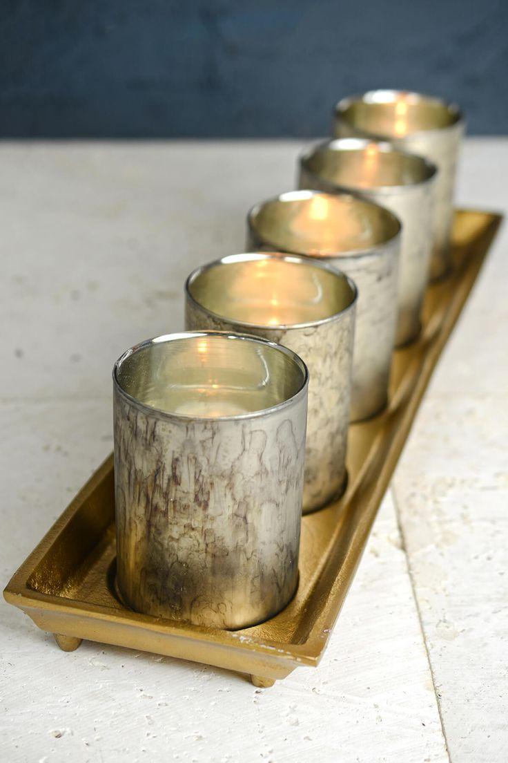 Bandeja de oro con 5 titulares de vidrio de Mercurio vela votiva 19.75in