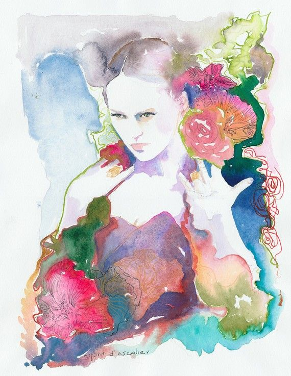 Fashion illustratie, aquarel mode Print, aquarel, Fashion Wall Art, Fashion Poster, bloemen Fashion, aquarel bloemen