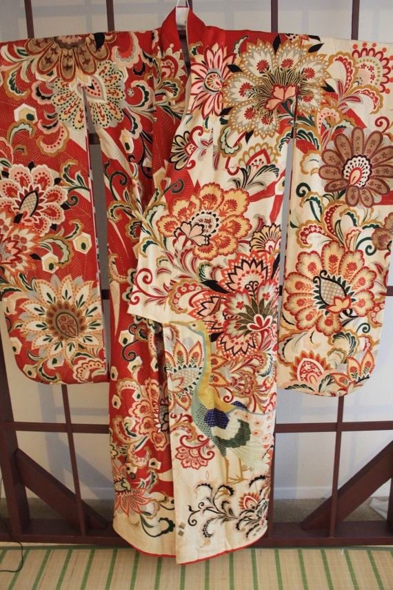Supreme Antique Japanese Wedding Furisode Uchikake by Choutama - This kimono print reminded me of my most-favorite kimono that I wore when I was a cute, little kodomo.  Grandpa and Grams brought it back from Nihon for me.  I did love that thing.  Miss them, too.