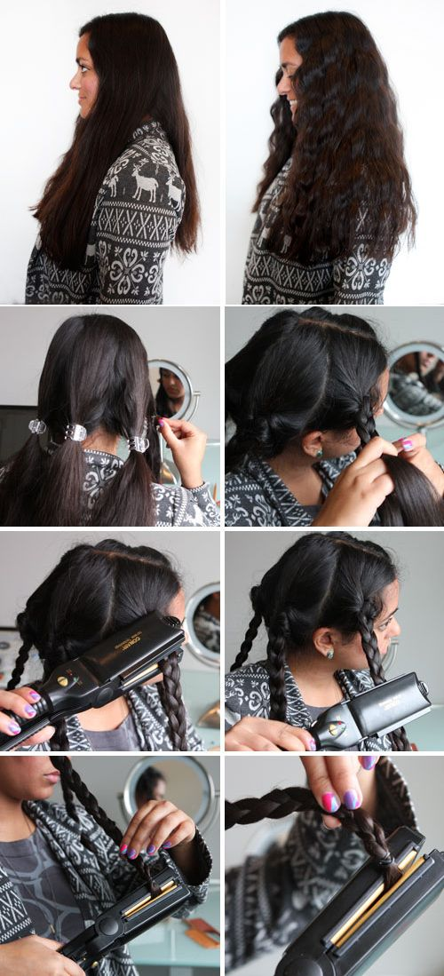 Flat-iron your braids as a quick way to create waves / 29 Hairstyling Hacks Every Girl Should Know (via BuzzFeed)