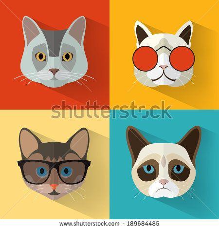 Animal Portrait Set with Flat Design/ Cat Collection / Vector Illustration…