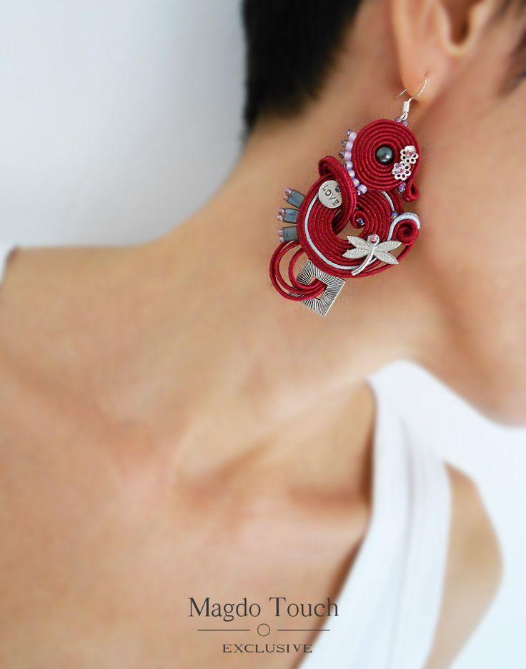 OOAK soutache earrings dangle earrings darkred earrings gift idea for her favorite jewelry best selling jewelry modern different earrings by MagdoTouch on Etsy