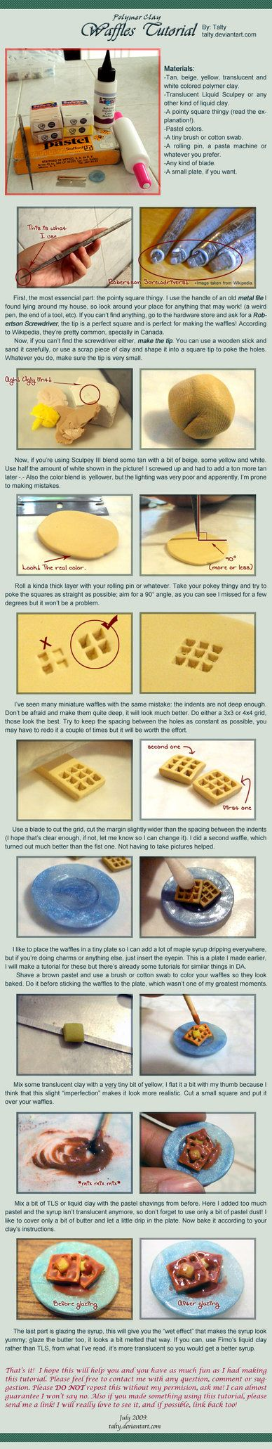 Polymer Clay Waffles Tutorial by ^Talty on deviantART