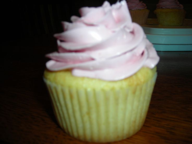lemon cupcakes with prickly pear buttercream