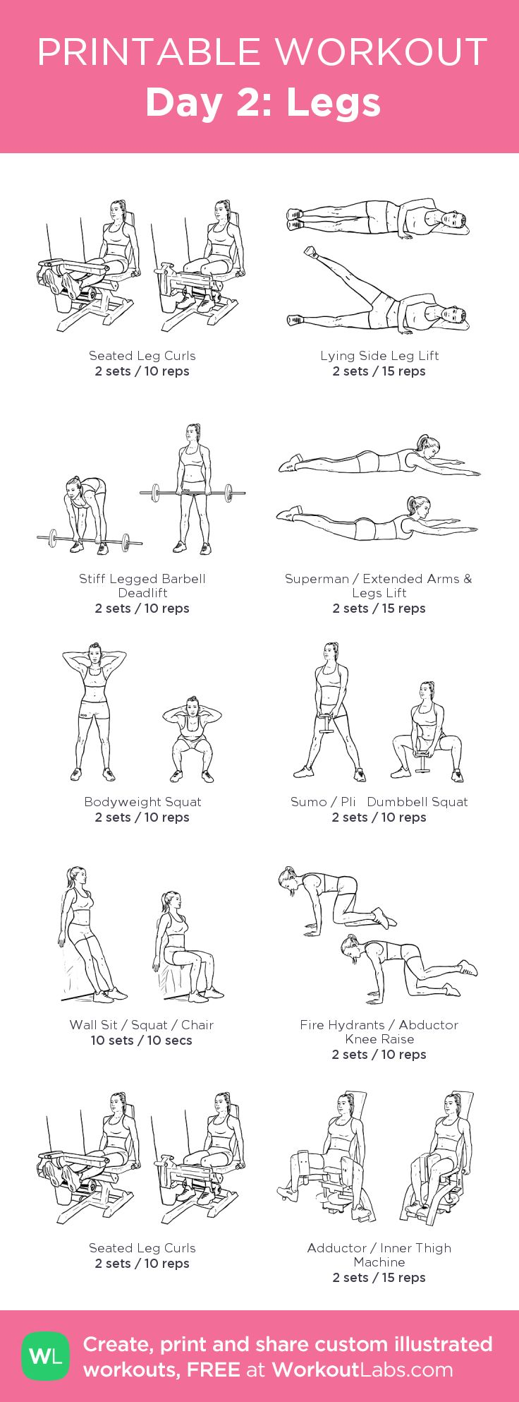 Day 2: Legs:my visual workout created at WorkoutLabs.com • Click through to customize and download as a FREE PDF! #customworkout