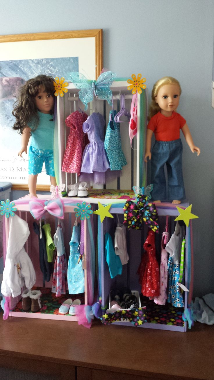 Doll Closet from wood crate