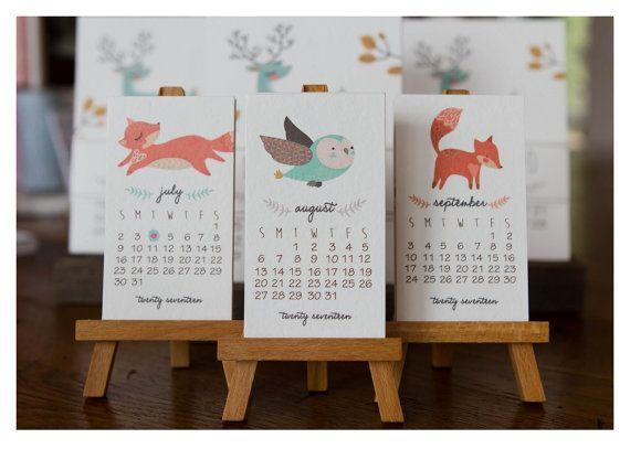 2017 Printable Woodland Mini Calendar от lemonadepaperie на Etsy