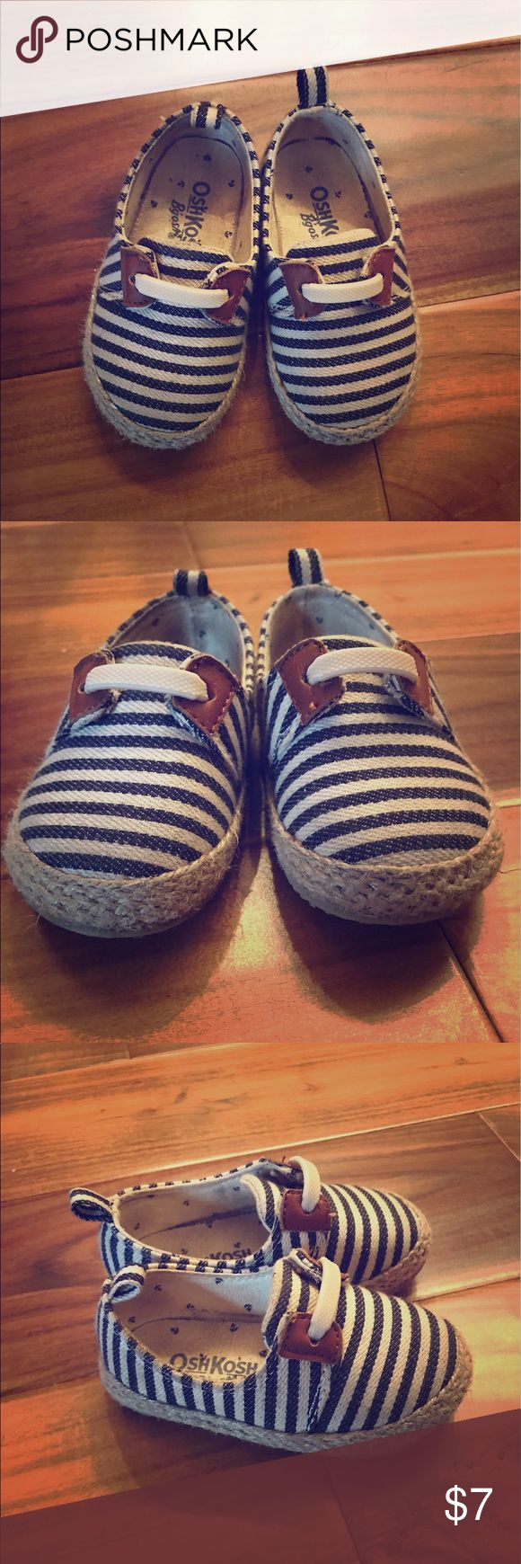 Blue and white striped tennis shoes Replaced shoe strings w elastic shoe bands to make easier for child to slip on OshKosh B'gosh Shoes