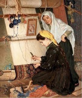 Panos Terlemezian. c1913. Women Weaving a Carpet. Oil, canvas. Musee Armenien, Paris.