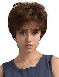 Fortryllende naturlige bølger brunt kort hår menneskelige hår parykker for kvinne
