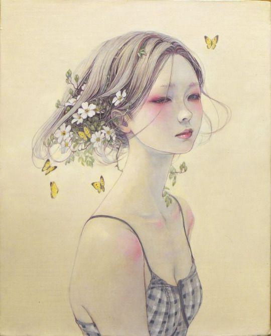 Hirano Miho 平野実穂  Kachoufuugetsu 花鳥風月 The Beauties of Nature series - Oil painting - Yuuwaku no bara 誘惑ー野薔薇 (Temptation over Wild Rose) - Japan - 2013