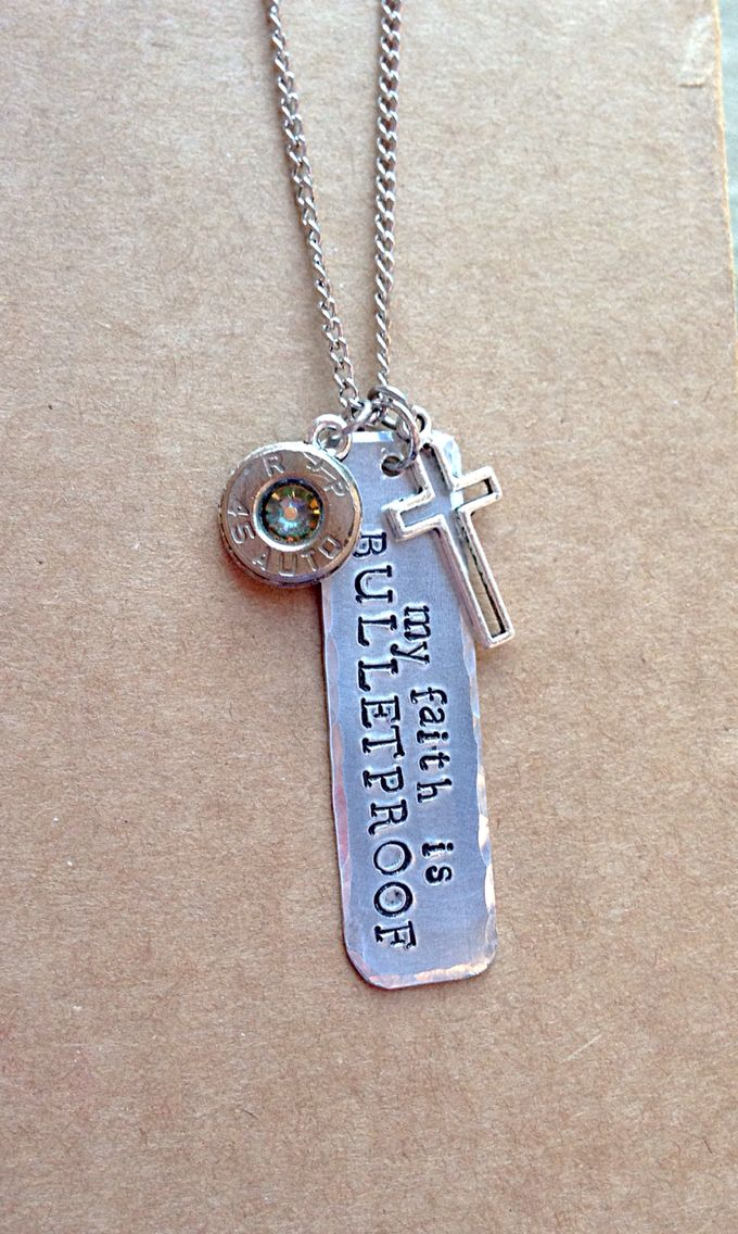 Ok, not the message I'd choose, but I like the dog tag look with the shell
