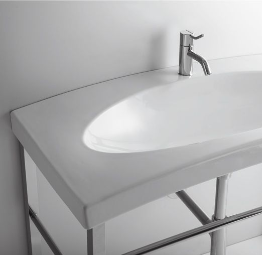 DU12 | Duemilasette Ceramica Simas Console 100 with single tap hole wall hung or to be mounted on stand